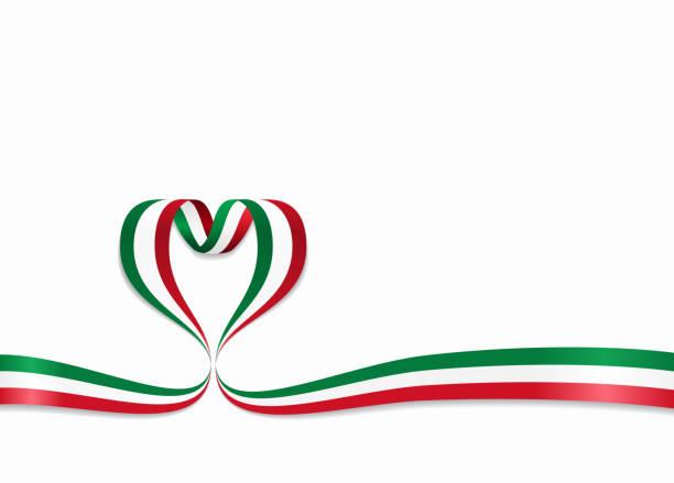italienische flagge herzform band. vektor-illustration. - italien stock-grafiken, -clipart, -cartoons und -symbole