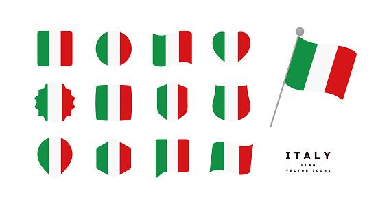Italian flag icon set vector illustration