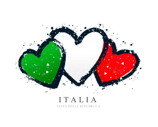 italienische fahne in form von drei herzen. - italien stock-grafiken, -clipart, -cartoons und -symbole