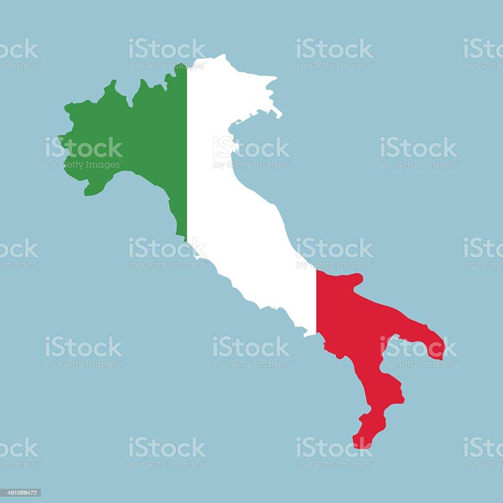 Bandera Italiana En Italia Mapa Arte Vectorial De Stock Y Más - Mapa de italia
