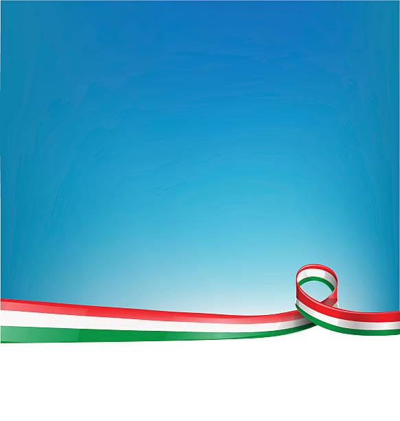 Italian flag ribbon dividing blue and white page vector art illustration