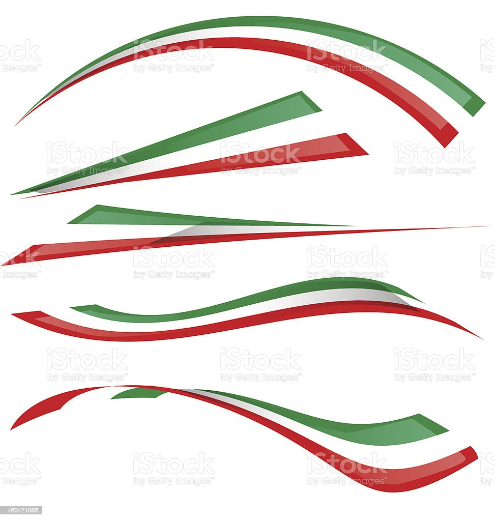 italian flag set vector art illustration