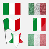 Italia Flags Made in Different Variations: in Flat Design, with  Fabric Texture and as Web Buttons