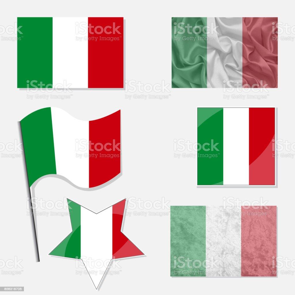 Italian Flag Set vector art illustration