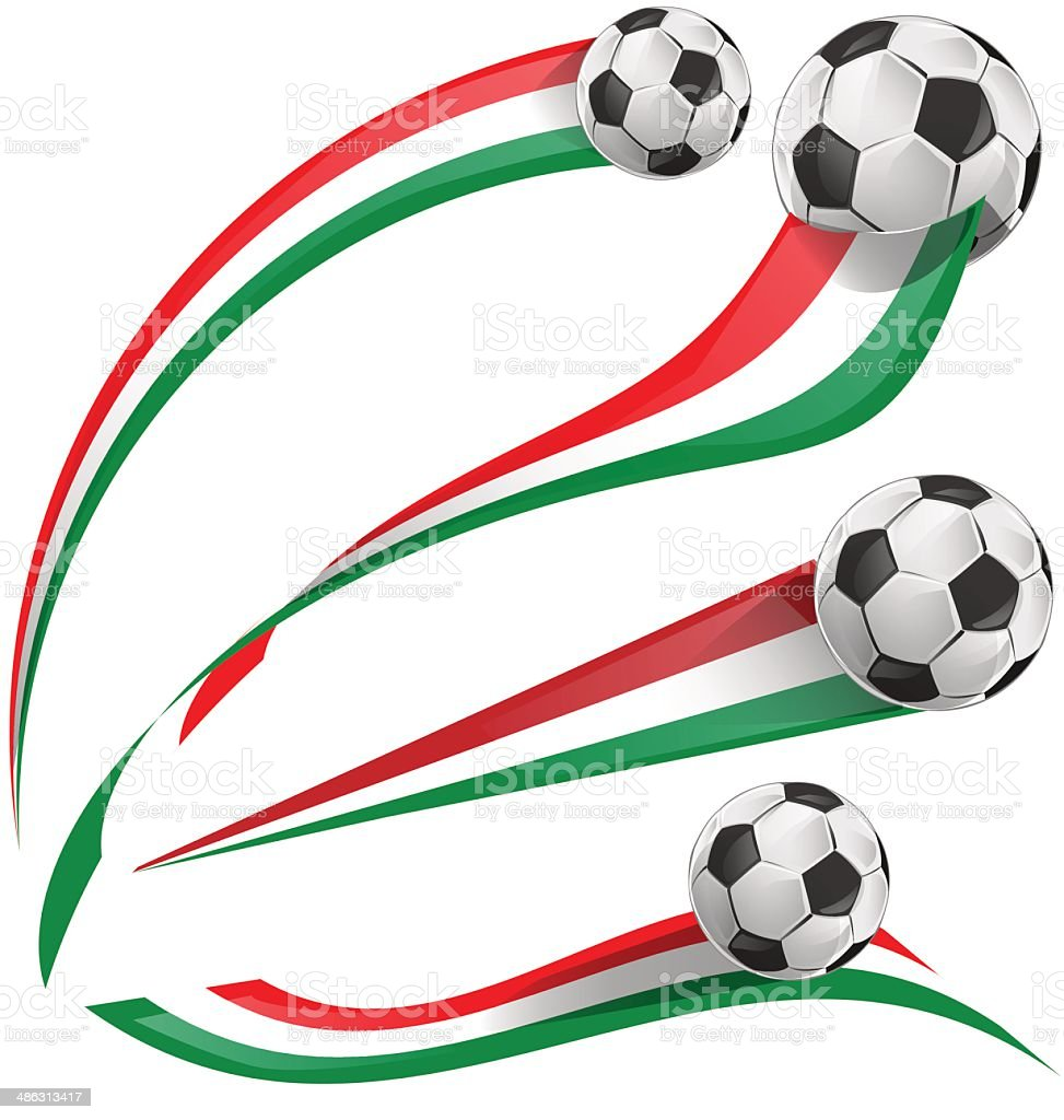 italian flag set with soccer ball vector art illustration