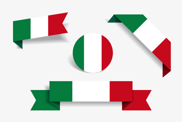 italienische flagge aufkleber und etiketten. vektor-illustration. - italien stock-grafiken, -clipart, -cartoons und -symbole