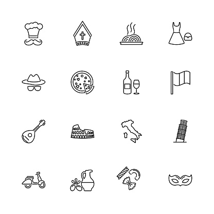 Italian - Flat Vector Icons