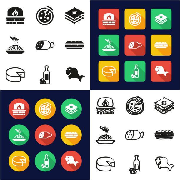 illustrazioni stock, clip art, cartoni animati e icone di tendenza di italian food all in one icons black & white color flat design freehand set - mortadella