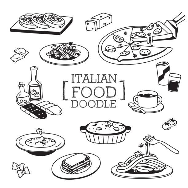 italienisches essen doodles.hand zeichnungsarten mit italienischen menü. - risotto stock-grafiken, -clipart, -cartoons und -symbole