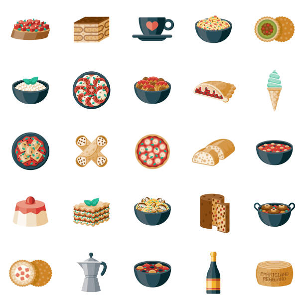illustrazioni stock, clip art, cartoni animati e icone di tendenza di italian food icon set - panettone