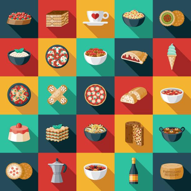illustrations, cliparts, dessins animés et icônes de ensemble d'icônes alimentaires italiennes - risotto