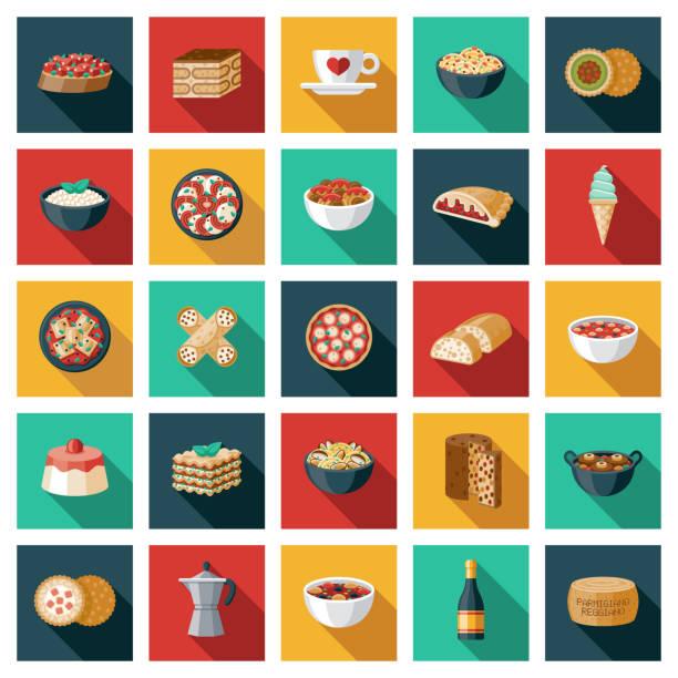 illustrations, cliparts, dessins animés et icônes de ensemble italien d'icône de nourriture - risotto