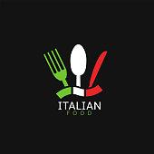 Italian food icon. Italian flag symbol Spoon fork and knife icons