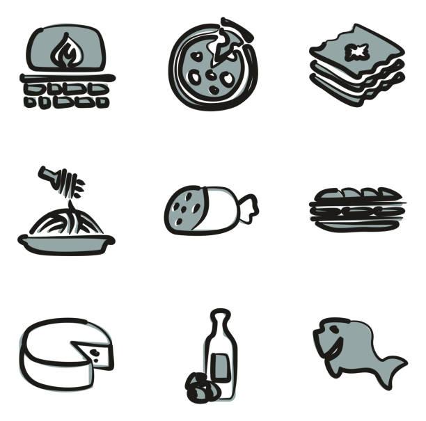 illustrazioni stock, clip art, cartoni animati e icone di tendenza di italian food icons freehand 2 color - mortadella