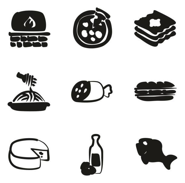 illustrazioni stock, clip art, cartoni animati e icone di tendenza di italian food icons freehand fill - mortadella