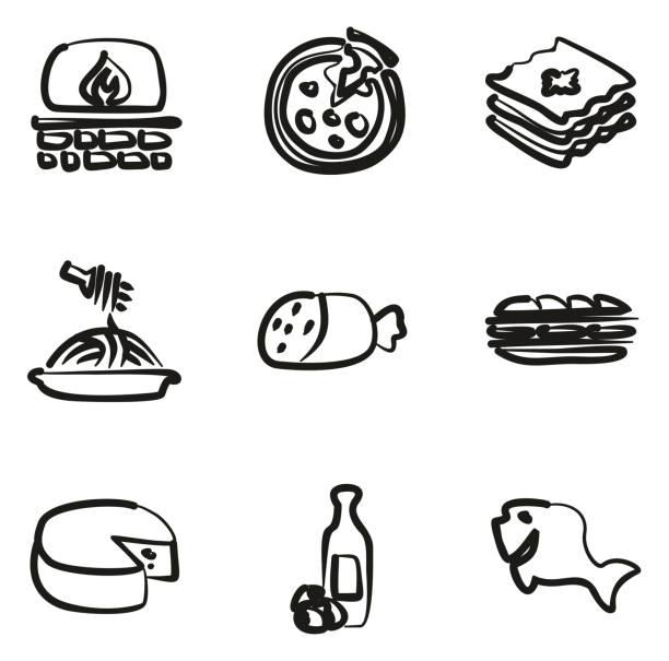 ilustrações de stock, clip art, desenhos animados e ícones de italian food icons freehand - baking bread at home