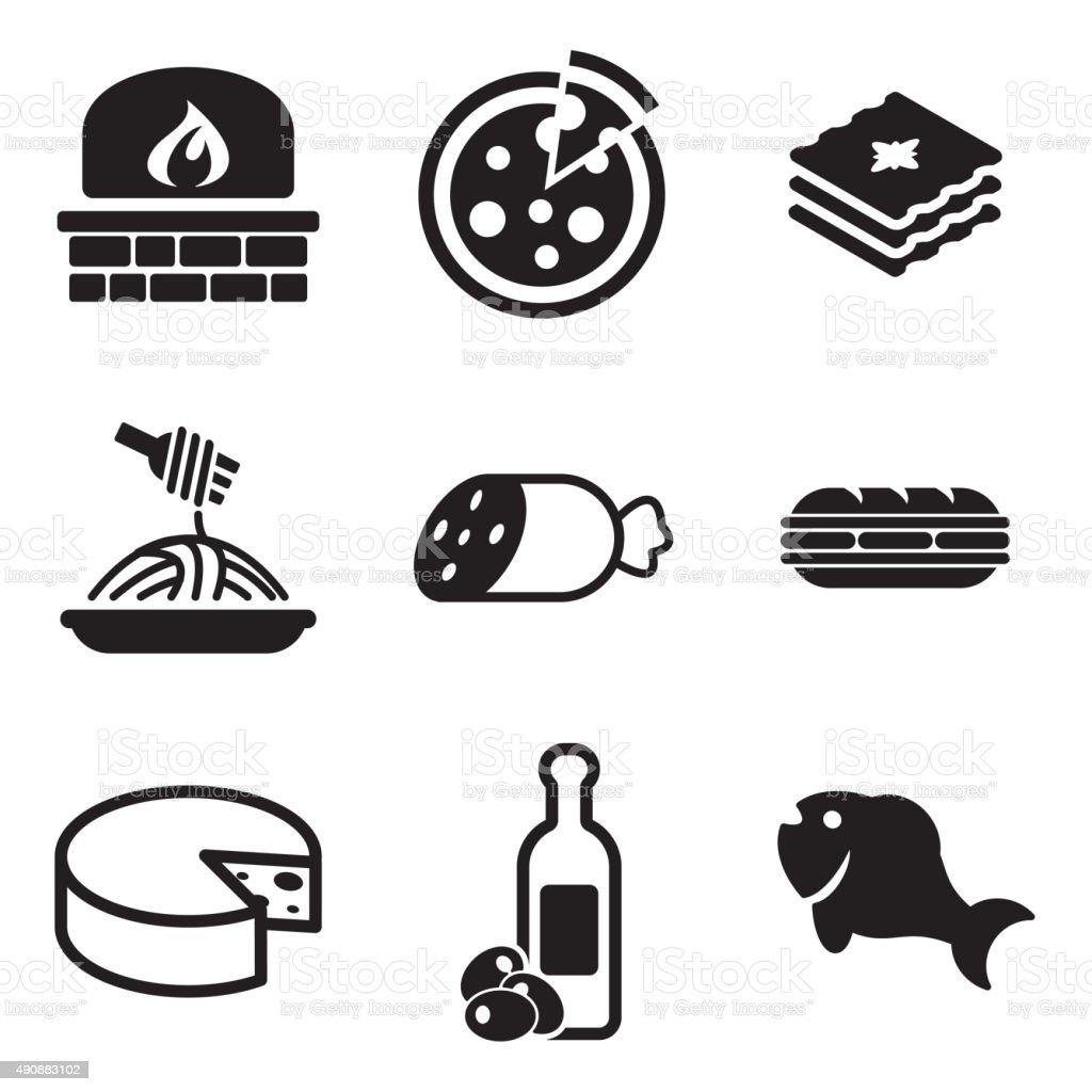 Italian Food Icons vector art illustration
