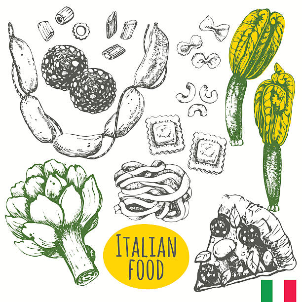 Italian food in the sketch style. Mediterranean traditional products. Vector illustration of ethnic cooking: pizza, artichoke, zucchini flowers, pasta, ravioli, salami.  Main course and snacks. ravioli stock illustrations
