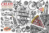 Italian food ingredients as pizza doodle