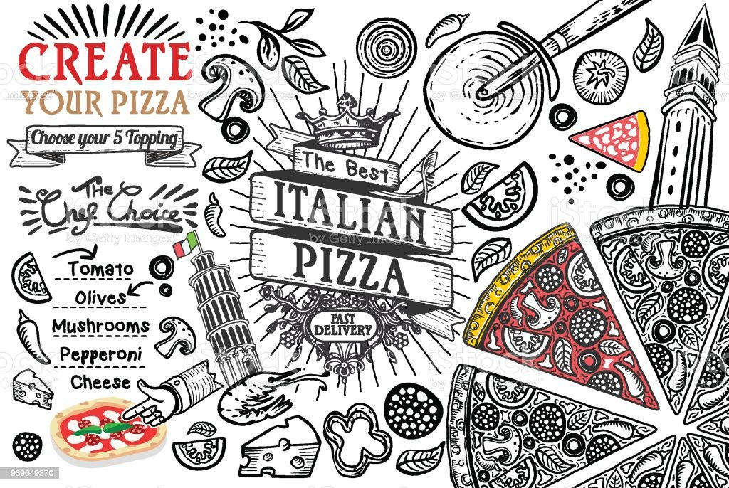 Italian food ingredients as pizza doodle vector art illustration