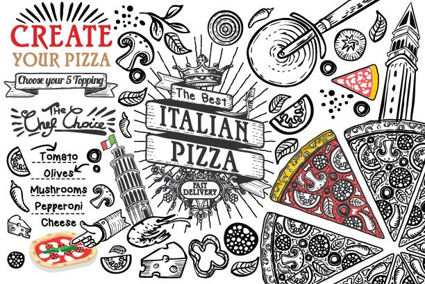 Italian food ingredients as pizza doodle Italian food ingredients in top view this is a pizza restaurant frame. Lined template or doodle illustration. Vector design. mozzarella stock illustrations