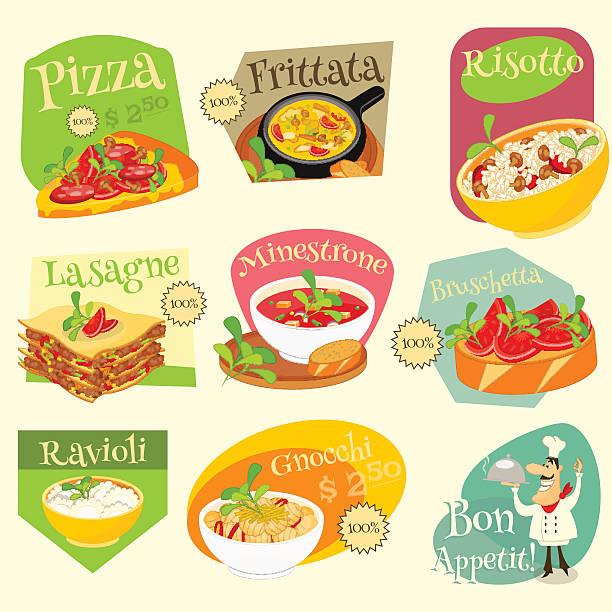 italienisches essen etiketten-set - risotto stock-grafiken, -clipart, -cartoons und -symbole