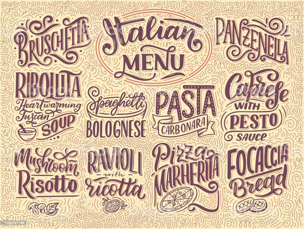Italian Food Restaurant Names: Italian Food Menu Names Of Dishes Lettering Stylized