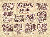 Italian food menu - names of dishes. Lettering , stylized drawing. Vector vintage illustration. Background for restaurant, cafe, showcase, storefront design