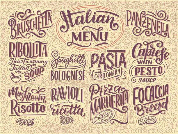 italienisches menü - namen der gerichte. schriftzüge, stilisierte zeichnung. vektor-illustration. hintergrund für restaurant, café, schaufenster, schaufenster-gestaltung - risotto stock-grafiken, -clipart, -cartoons und -symbole