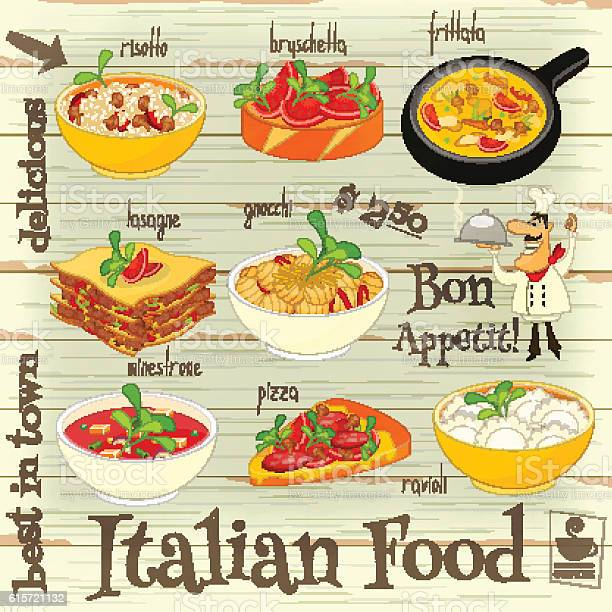 Cuisine Italienne À La Carte Vecteurs libres de droits et plus d'images vectorielles de Aliment