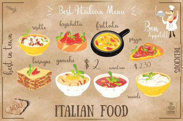 italienische speisekarte - risotto stock-grafiken, -clipart, -cartoons und -symbole