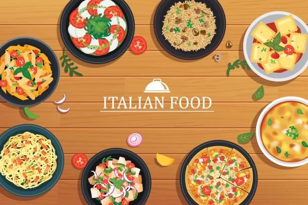 illustrations, cliparts, dessins animés et icônes de cuisine italienne sur un fond de table en bois. vue de dessus vector illustration. - risotto