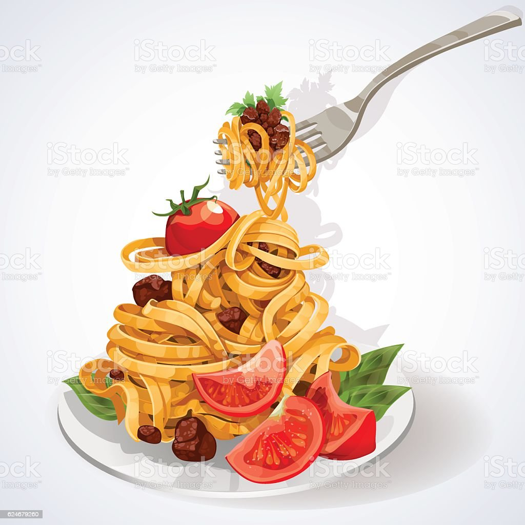 Italian food. Pasta with meat sauce on a plate vector art illustration