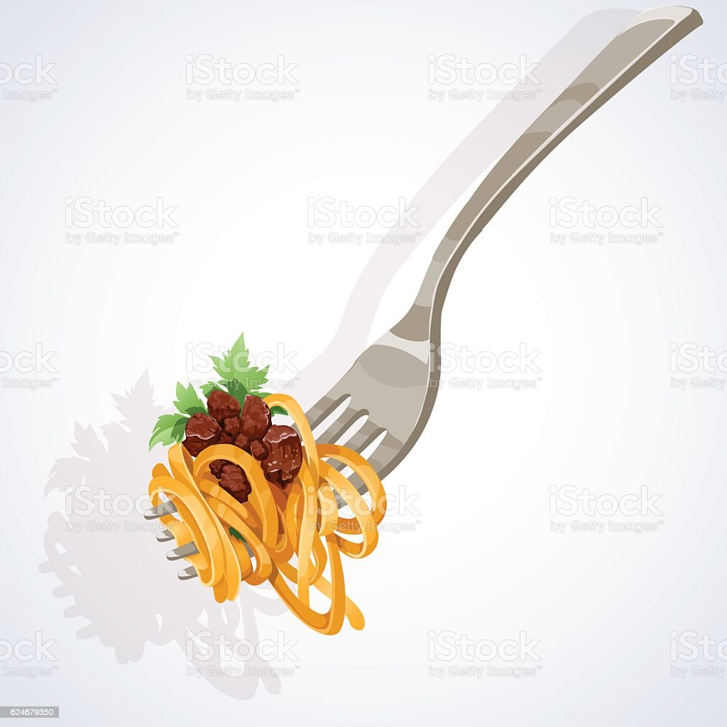 Italian food. Pasta with tomato and meat on fork vector art illustration
