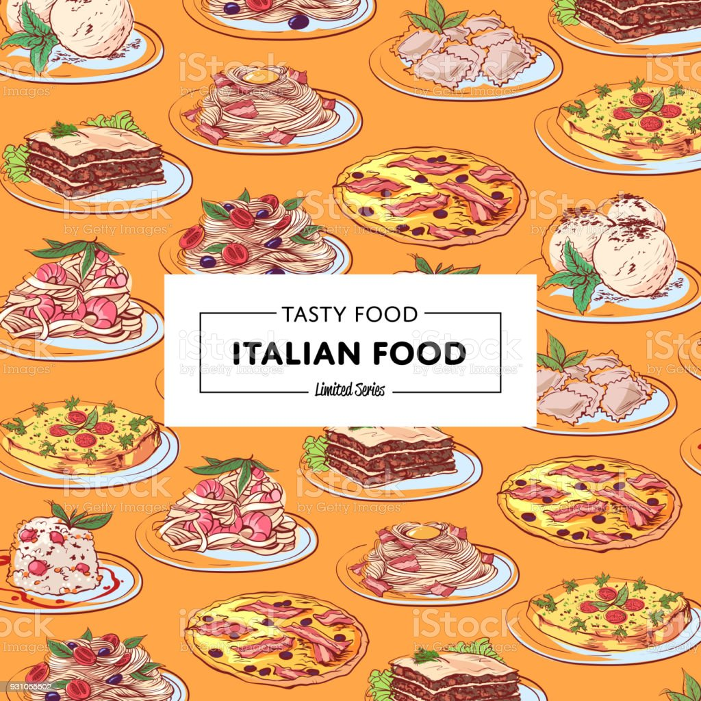 Italian food poster with national cuisine dishes vector art illustration