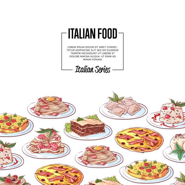 italienische küche poster mit nationalen gerichten - tiramisu stock-grafiken, -clipart, -cartoons und -symbole
