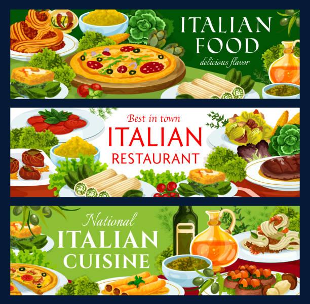 bildbanksillustrationer, clip art samt tecknat material och ikoner med italiensk matrestaurang traditionella rätter banners - tagliatelle mushroom