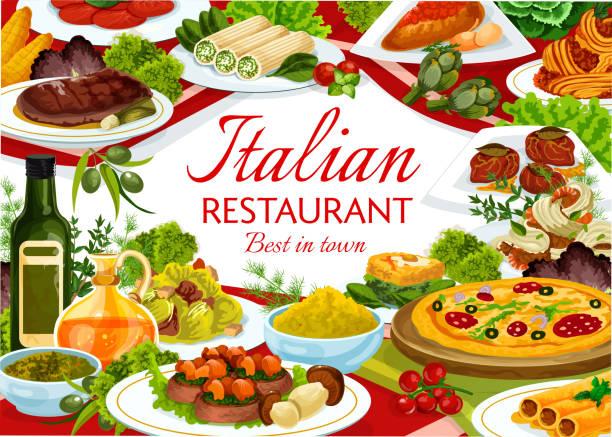 bildbanksillustrationer, clip art samt tecknat material och ikoner med italiensk matrestaurang vektorbanner med måltider - tagliatelle mushroom