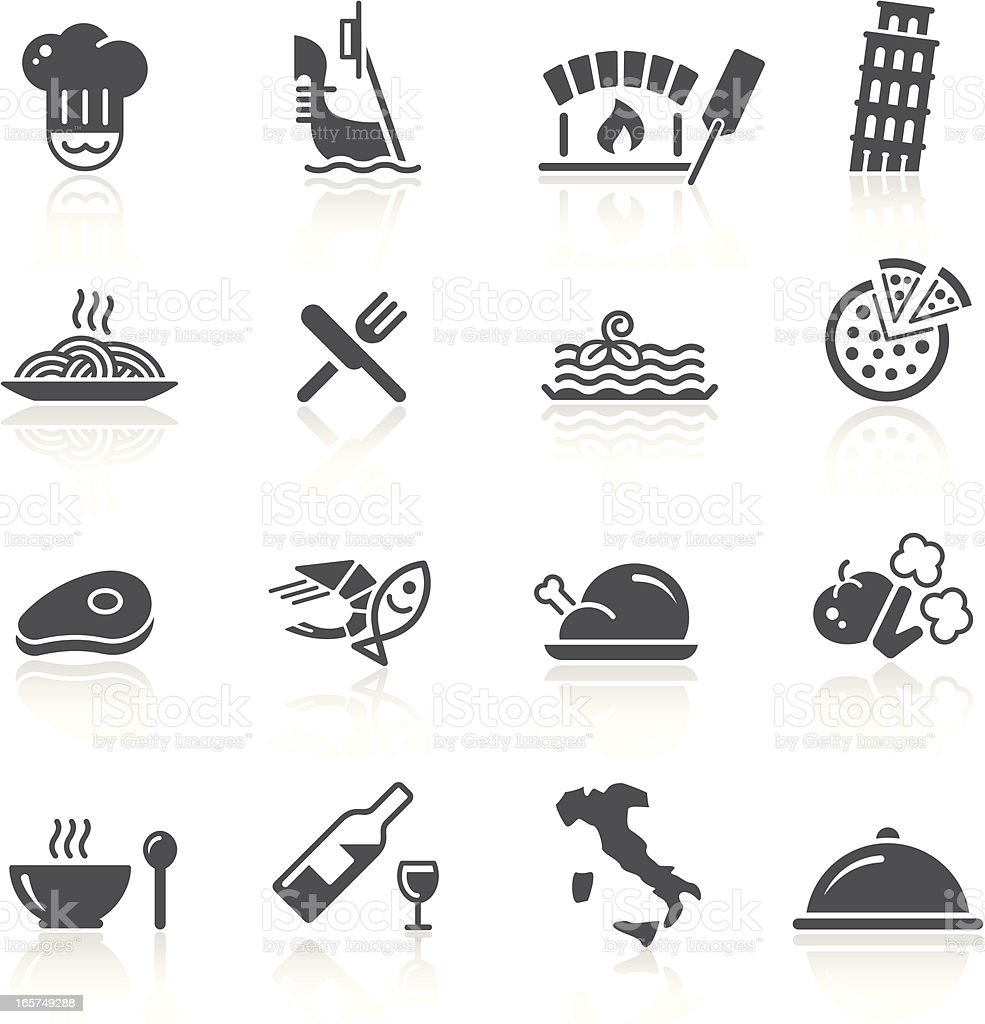 Italian Food & Restaurant Black icon set for your web or printing projects. Baking stock vector