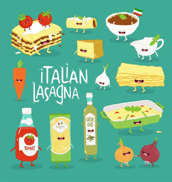 Italian food set. Lasagna and her friends. Vector graphics. Italian food set. Lasagna and her friends. Vector graphics cannelloni stock illustrations