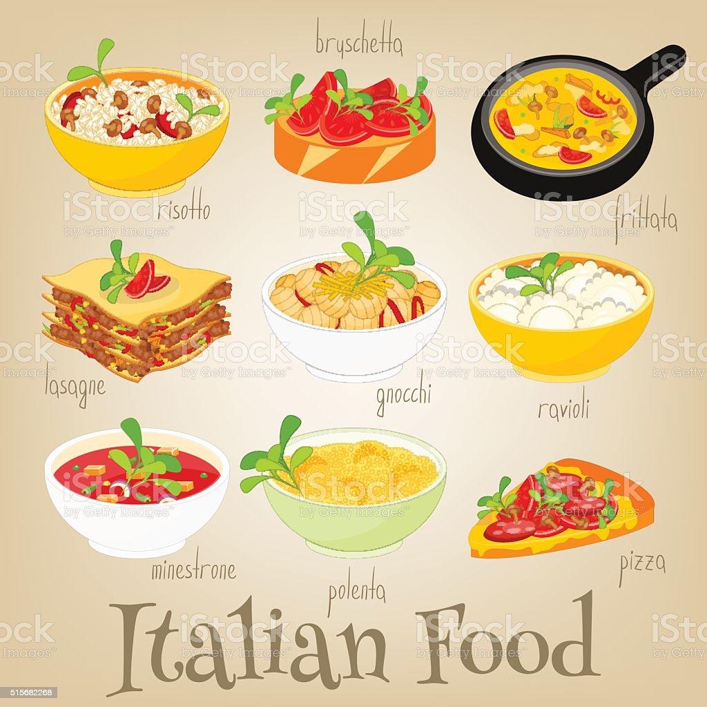 Cuisine italienne Set - clipart vectoriel de Aliment libre de droits