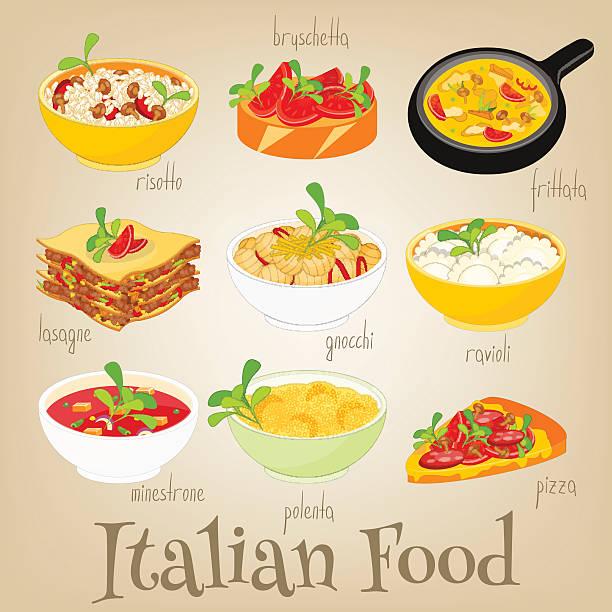 italienische essen set - risotto stock-grafiken, -clipart, -cartoons und -symbole