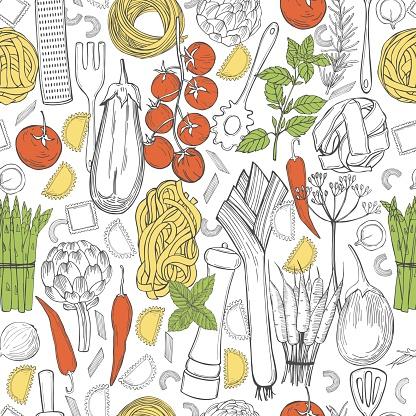 Italian food. Sketch  illustration.