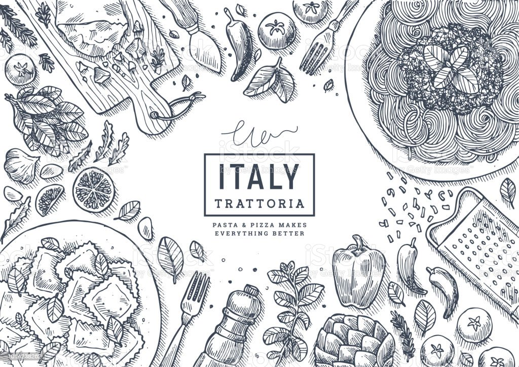 Italian food top view illustration. Spagetti and ravioli table background. Engraved style illustration. Hero image. Vector illustration royalty-free italian food top view illustration spagetti and ravioli table background engraved style illustration hero image vector illustration stock illustration - download image now