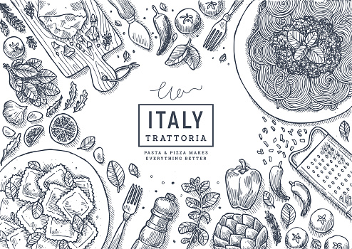 Italian food top view illustration. Spagetti and ravioli table background. Engraved style illustration. Hero image. Vector illustration