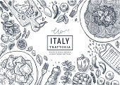Hero image. Vector illustration. Italian food top view illustration. Spagetti and ravioli table background. Engraved style illustration.