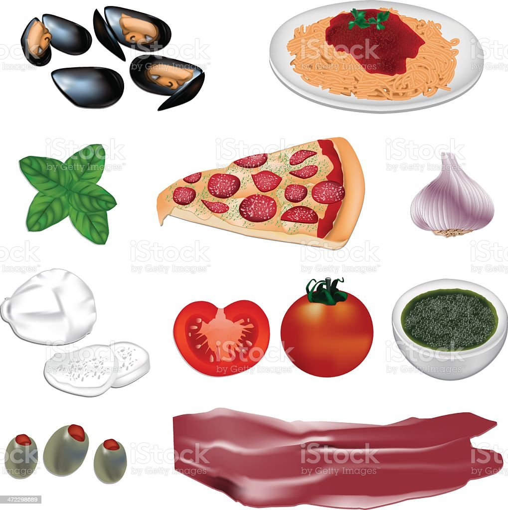 Italian food vector illustration vector art illustration