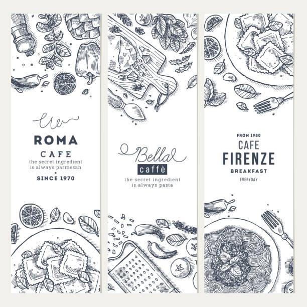 ilustrações, clipart, desenhos animados e ícones de conjunto de banner vertical de comida italiana. spagetti e ravioli. ilustração do estilo gravado. imagem de herói. ilustração vetorial - ingredientes