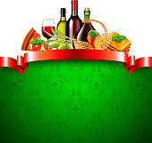 istock italian food with red ribbon and green background 886035388