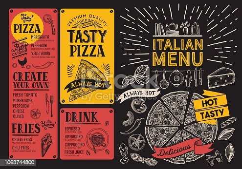 istock Italian foodrestaurant menu. Pizza flyer for bar and cafe. Design template with vintage hand-drawn illustrations. 1063744800
